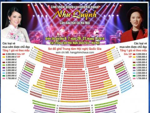 Xem sơ đồ vé Liveshow Như Quỳnh 26-27/01/2018