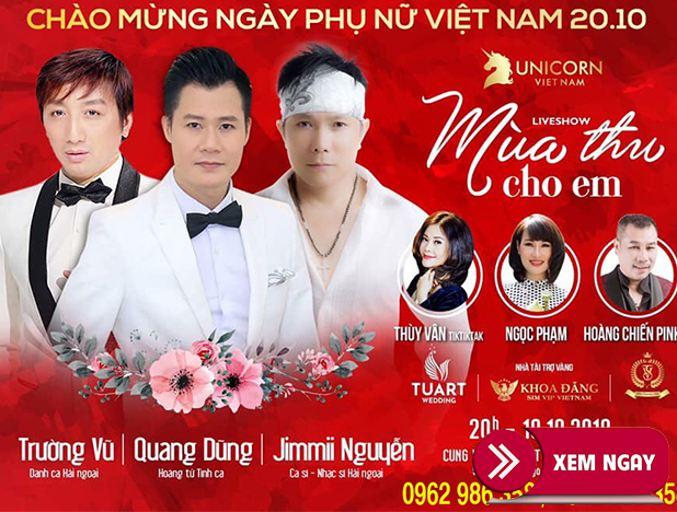 Bán vé Liveshow Quang Dũng, Trường Vũ, Jimmii Nguyễn – TP Hải Phòng