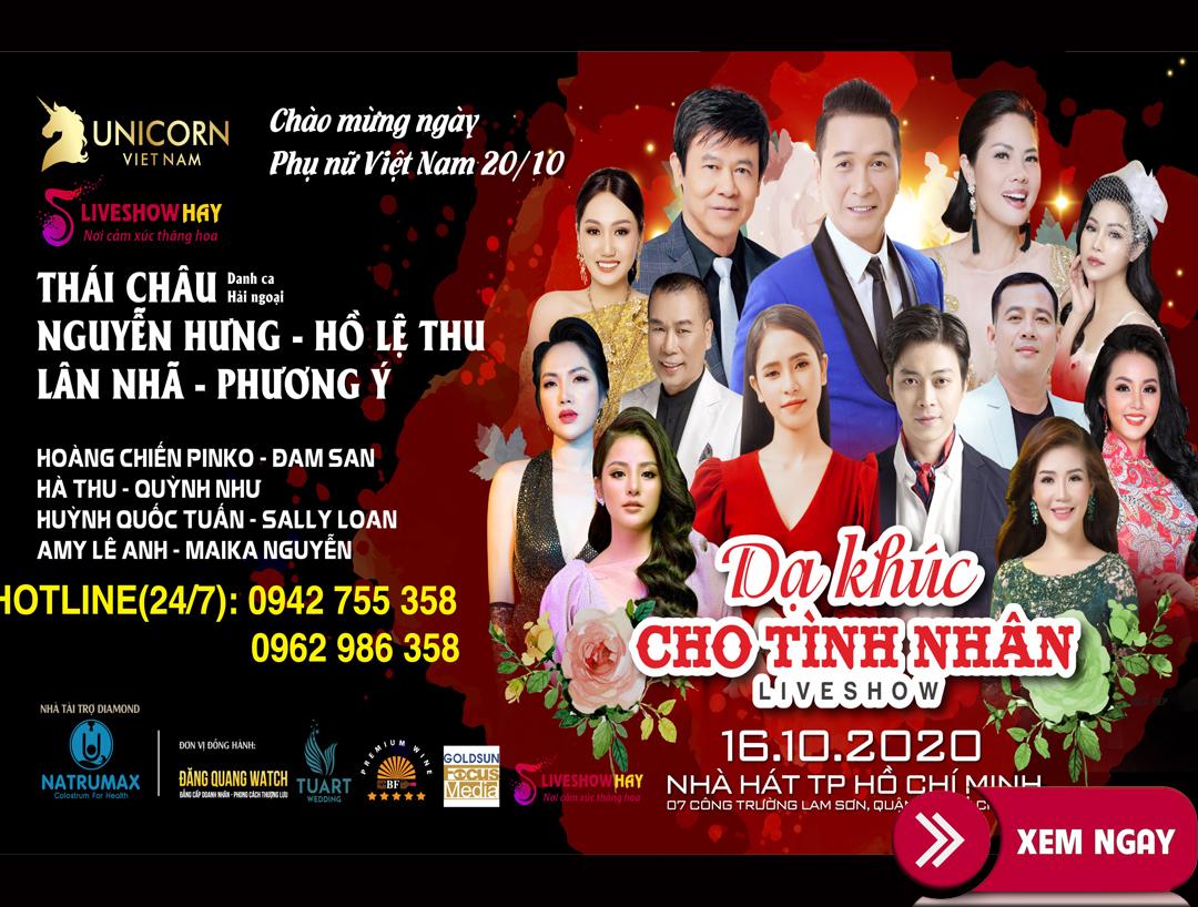 Bán vé  liveshow đêm nhạc Dạ Khúc Cho Tình Nhân,Thái Châu, Nguyễn Hưng,…ngày 16/10/2020 tại Thành Phố Hồ Chí Minh